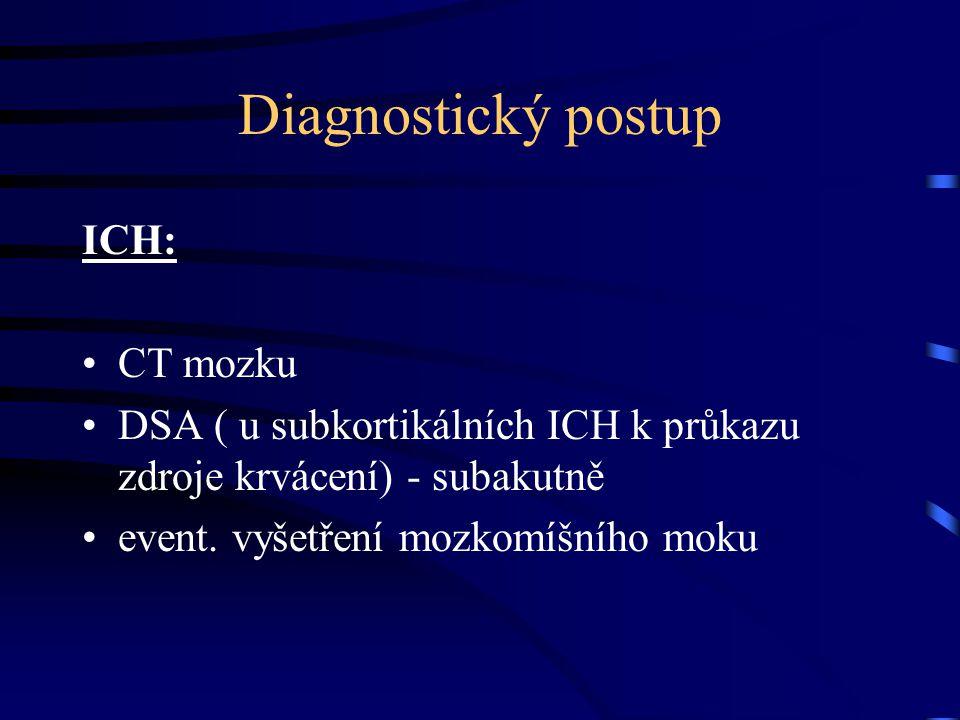 Diagnostický postup ICH: CT mozku DSA ( u subkortikálních ICH k průkazu zdroje krvácení) - subakutně event. vyšetření mozkomíšního moku