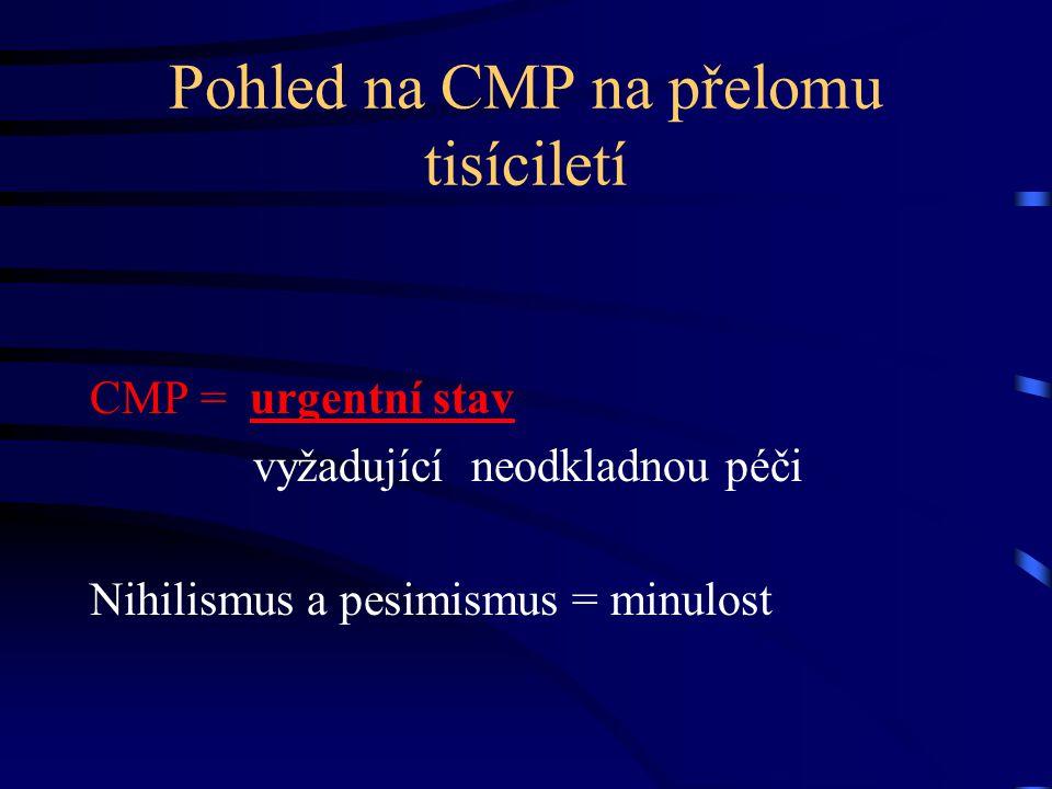 Pohled na CMP na přelomu tisíciletí CMP = urgentní stav vyžadující neodkladnou péči Nihilismus a pesimismus = minulost