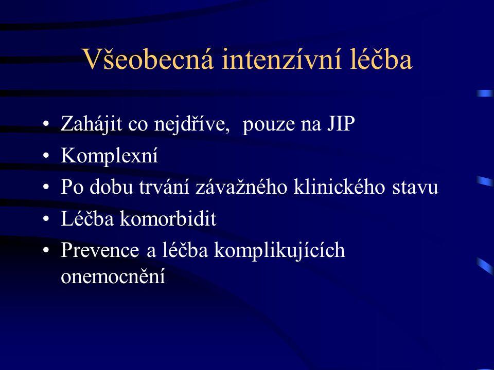 Všeobecná intenzívní léčba Zahájit co nejdříve, pouze na JIP Komplexní Po dobu trvání závažného klinického stavu Léčba komorbidit Prevence a léčba kom