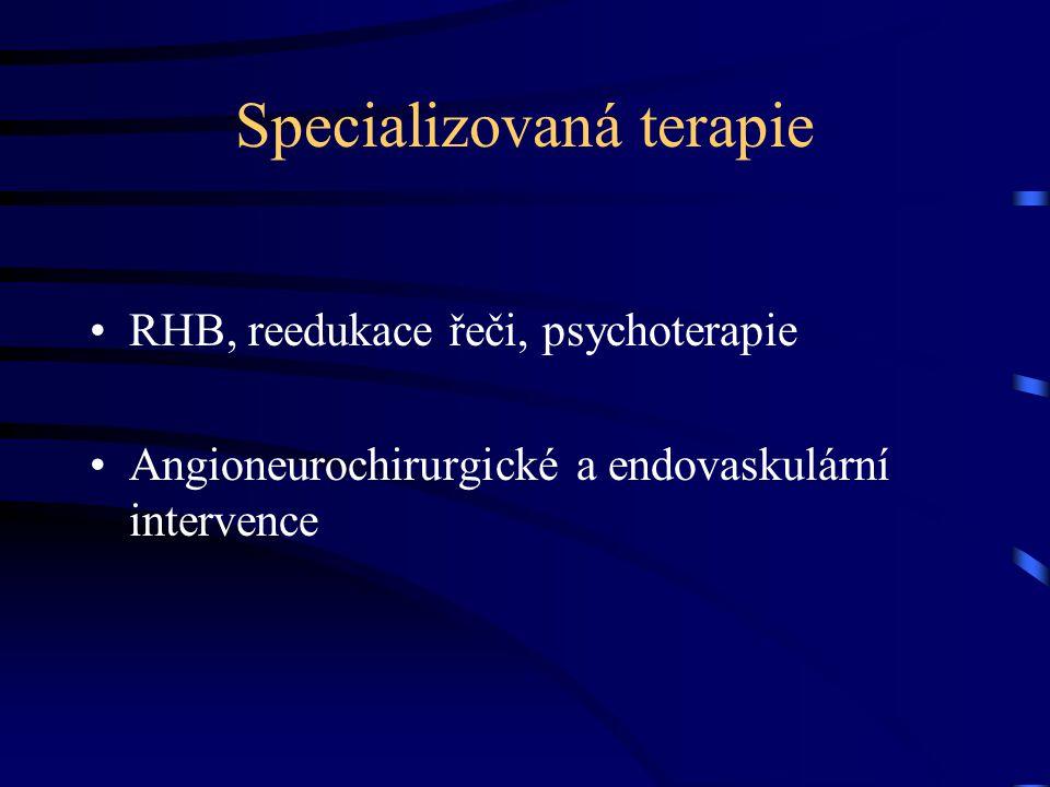 Specializovaná terapie RHB, reedukace řeči, psychoterapie Angioneurochirurgické a endovaskulární intervence