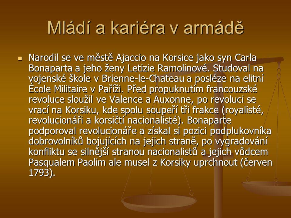 Mládí a kariéra v armádě Narodil se ve městě Ajaccio na Korsice jako syn Carla Bonaparta a jeho ženy Letizie Ramolinové.