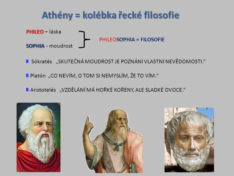 """Athény = kolébka řecké filosofie PHILEO PHILEO – láska SOPHIA SOPHIA - moudrost PHILEOSOPHIA = FILOSOFIE Sókratés """"SKUTEČNÁ MOUDROST JE POZNÁNÍ VLASTN"""