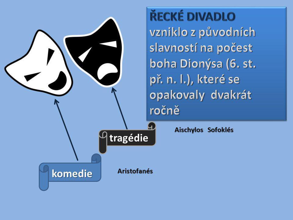 tragédie komedie Aischylos Sofoklés Aristofanés