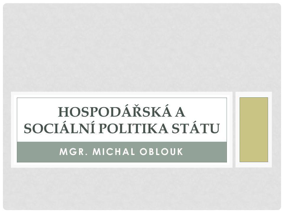 MGR. MICHAL OBLOUK HOSPODÁŘSKÁ A SOCIÁLNÍ POLITIKA STÁTU