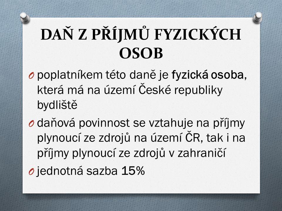 DAŇ Z PŘÍJMŮ PRÁVNICKÝCH OSOB O daní příjmy subjektů založených za účelem podnikání, vztahuje se i na ostatní subjekty jako různé nadace a občanská sdružení O poplatníky jsou osoby, které nejsou fyzickými osobami, pokud mají sídlo nebo místo vedení společnosti v České republice, musí zdanit i příjmy plynoucí ze zahraničí O předmětem daně jsou příjmy (výnosy) z veškeré činnosti a z nakládání s veškerým majetkem O jednotná sazba 19%