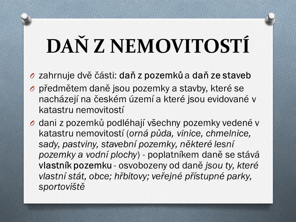 DAŇ Z NEMOVITOSTÍ O zahrnuje dvě části: daň z pozemků a daň ze staveb O předmětem daně jsou pozemky a stavby, které se nacházejí na českém území a kte