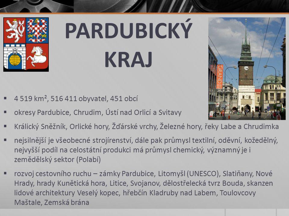 PARDUBICKÝ KRAJ  4 519 km², 516 411 obyvatel, 451 obcí  okresy Pardubice, Chrudim, Ústí nad Orlicí a Svitavy  Králický Sněžník, Orlické hory, Žďárs