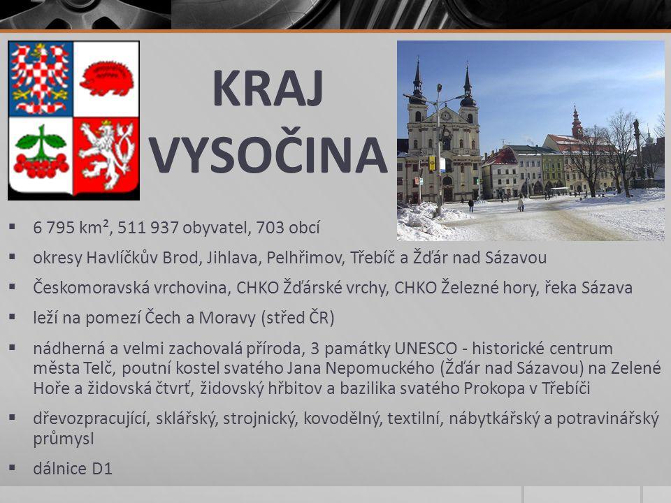 KRAJ VYSOČINA  6 795 km², 511 937 obyvatel, 703 obcí  okresy Havlíčkův Brod, Jihlava, Pelhřimov, Třebíč a Žďár nad Sázavou  Českomoravská vrchovina