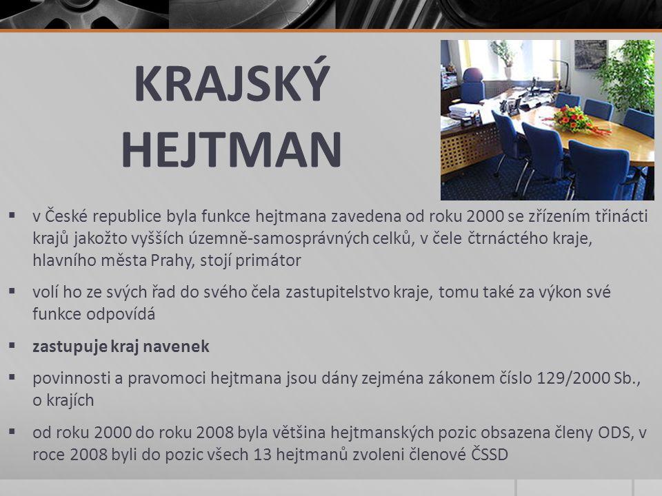 KRAJSKÝ HEJTMAN  v České republice byla funkce hejtmana zavedena od roku 2000 se zřízením třinácti krajů jakožto vyšších územně-samosprávných celků,