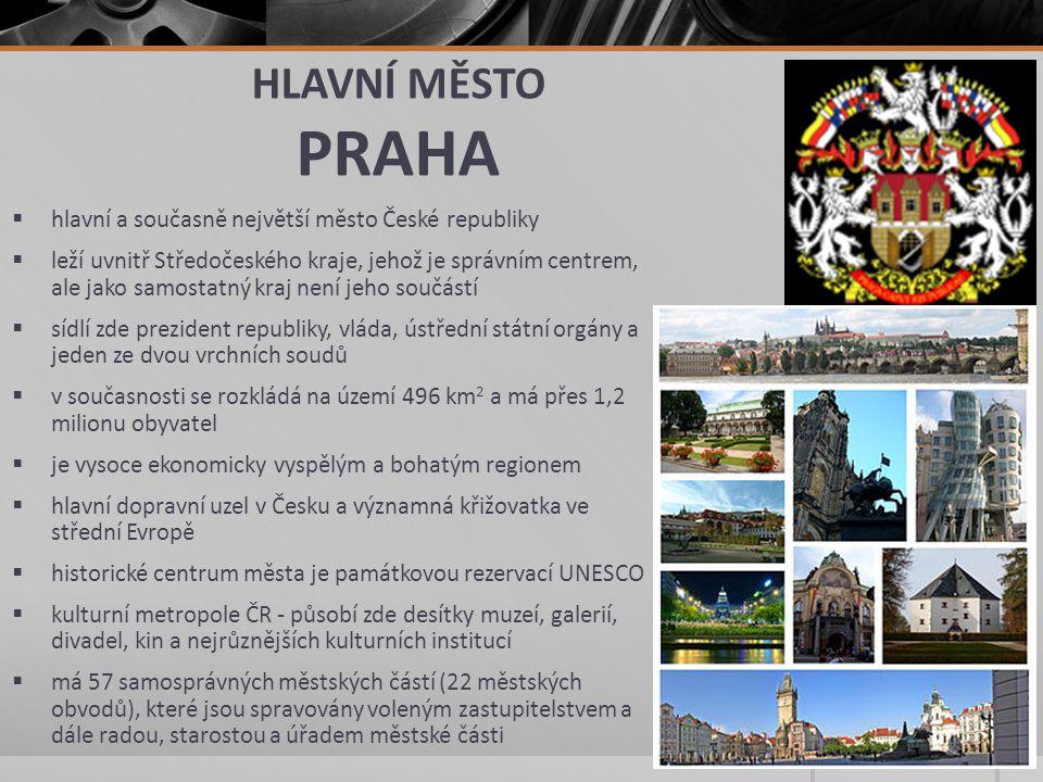 HLAVNÍ MĚSTO PRAHA  hlavní a současně největší město České republiky  leží uvnitř Středočeského kraje, jehož je správním centrem, ale jako samostatn