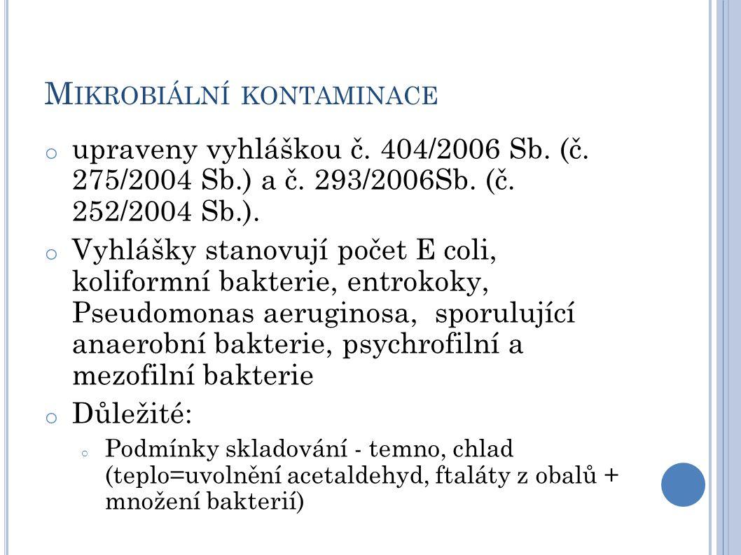 M IKROBIÁLNÍ KONTAMINACE o upraveny vyhláškou č. 404/2006 Sb. (č. 275/2004 Sb.) a č. 293/2006Sb. (č. 252/2004 Sb.). o Vyhlášky stanovují počet E coli,