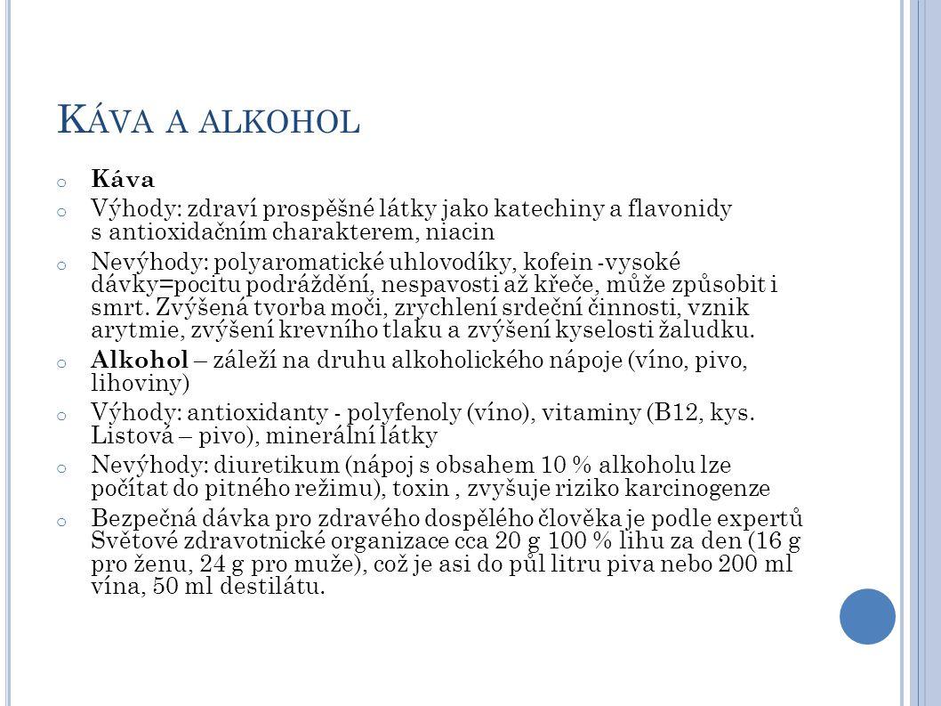 K ÁVA A ALKOHOL o Káva o Výhody: zdraví prospěšné látky jako katechiny a flavonidy s antioxidačním charakterem, niacin o Nevýhody: polyaromatické uhlo