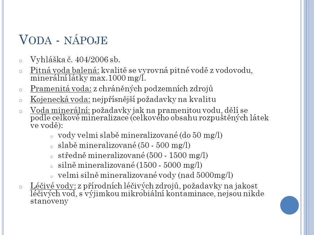 V ODA - NÁPOJE o Vyhláška č. 404/2006 sb. o Pitná voda balená: kvalitě se vyrovná pitné vodě z vodovodu, minerální látky max.1000 mg/l. o Pramenitá vo