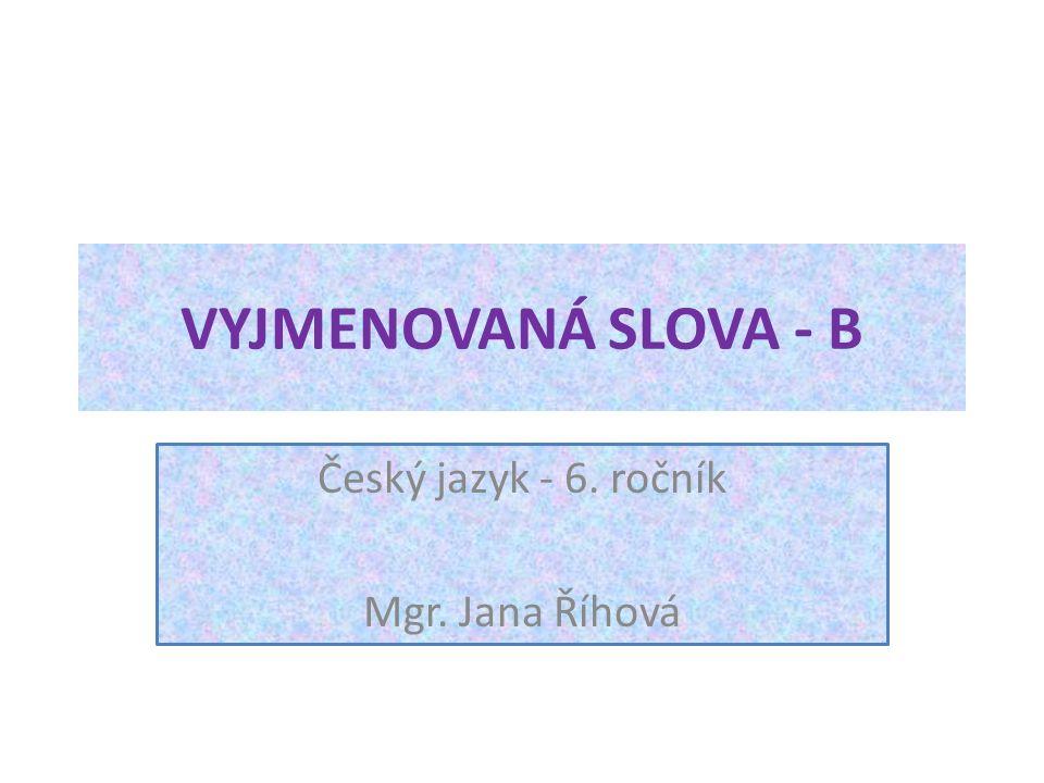 VYJMENOVANÁ SLOVA - B Český jazyk - 6. ročník Mgr. Jana Říhová