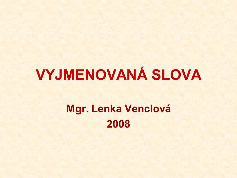 VYJMENOVANÁ SLOVA Mgr. Lenka Venclová 2008