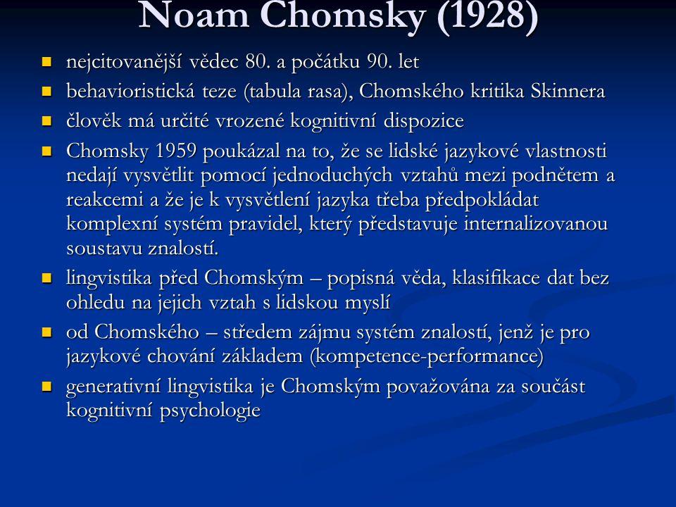 Noam Chomsky (1928) nejcitovanější vědec 80. a počátku 90. let nejcitovanější vědec 80. a počátku 90. let behavioristická teze (tabula rasa), Chomskéh