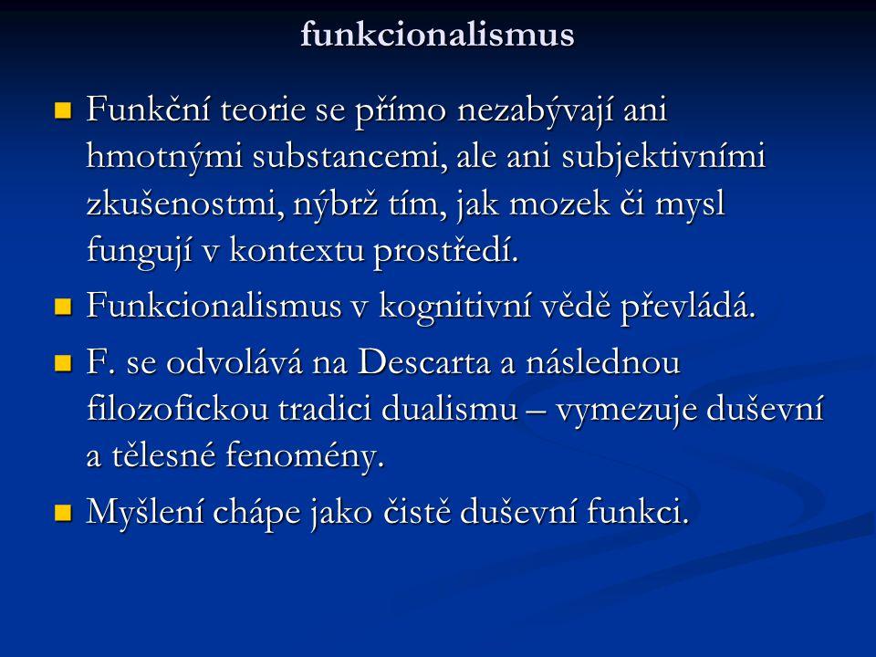 funkcionalismus Funkční teorie se přímo nezabývají ani hmotnými substancemi, ale ani subjektivními zkušenostmi, nýbrž tím, jak mozek či mysl fungují v