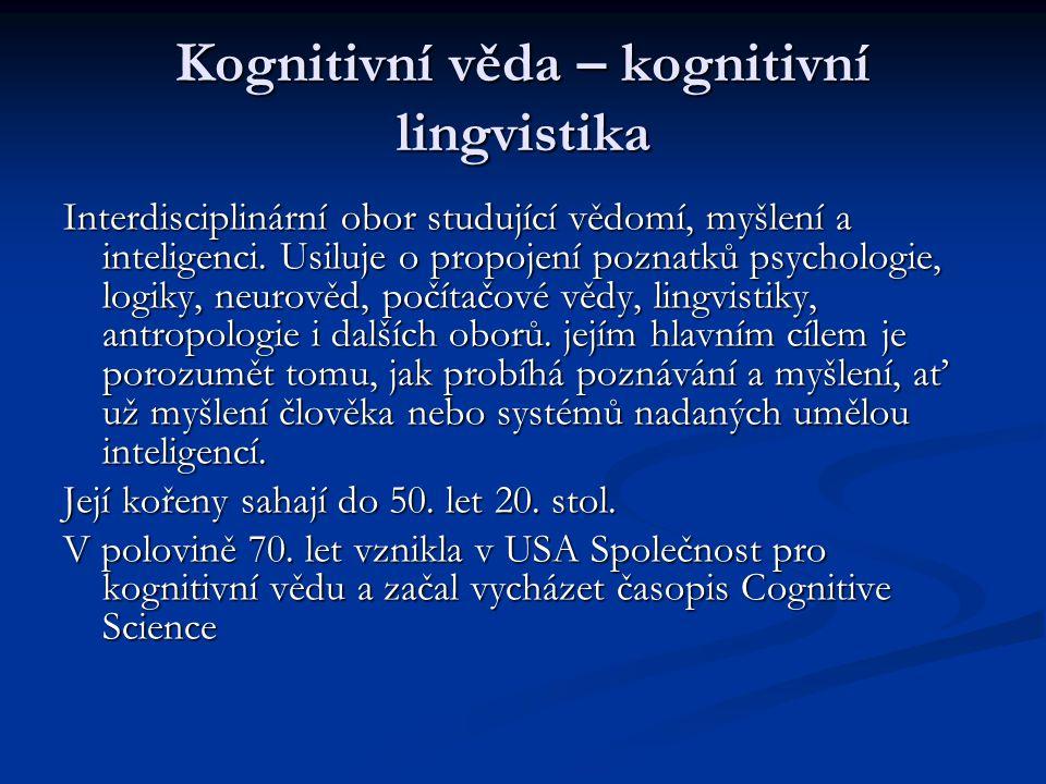 Kognitivní věda – kognitivní lingvistika Interdisciplinární obor studující vědomí, myšlení a inteligenci. Usiluje o propojení poznatků psychologie, lo