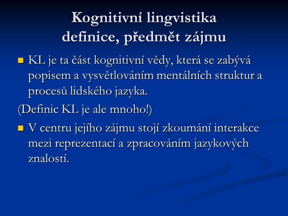 Kognitivní lingvistika definice, předmět zájmu KL je ta část kognitivní vědy, která se zabývá popisem a vysvětlováním mentálních struktur a procesů li