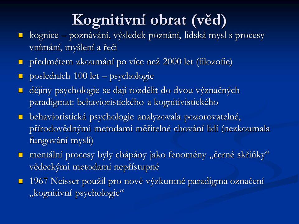 Kognitivní obrat (věd) kognice – poznávání, výsledek poznání, lidská mysl s procesy vnímání, myšlení a řeči kognice – poznávání, výsledek poznání, lid