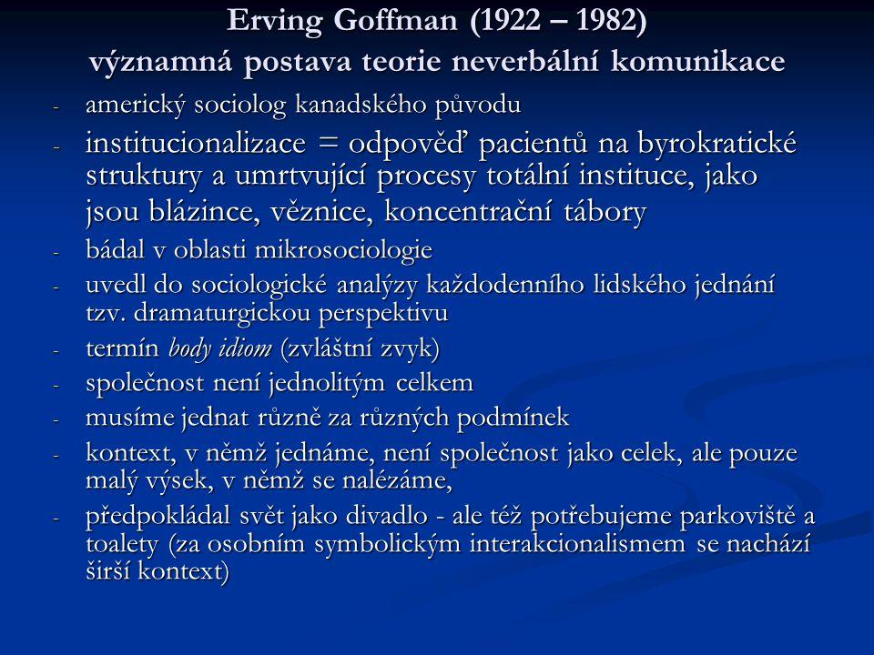Erving Goffman (1922 – 1982) významná postava teorie neverbální komunikace - americký sociolog kanadského původu - institucionalizace = odpověď pacien