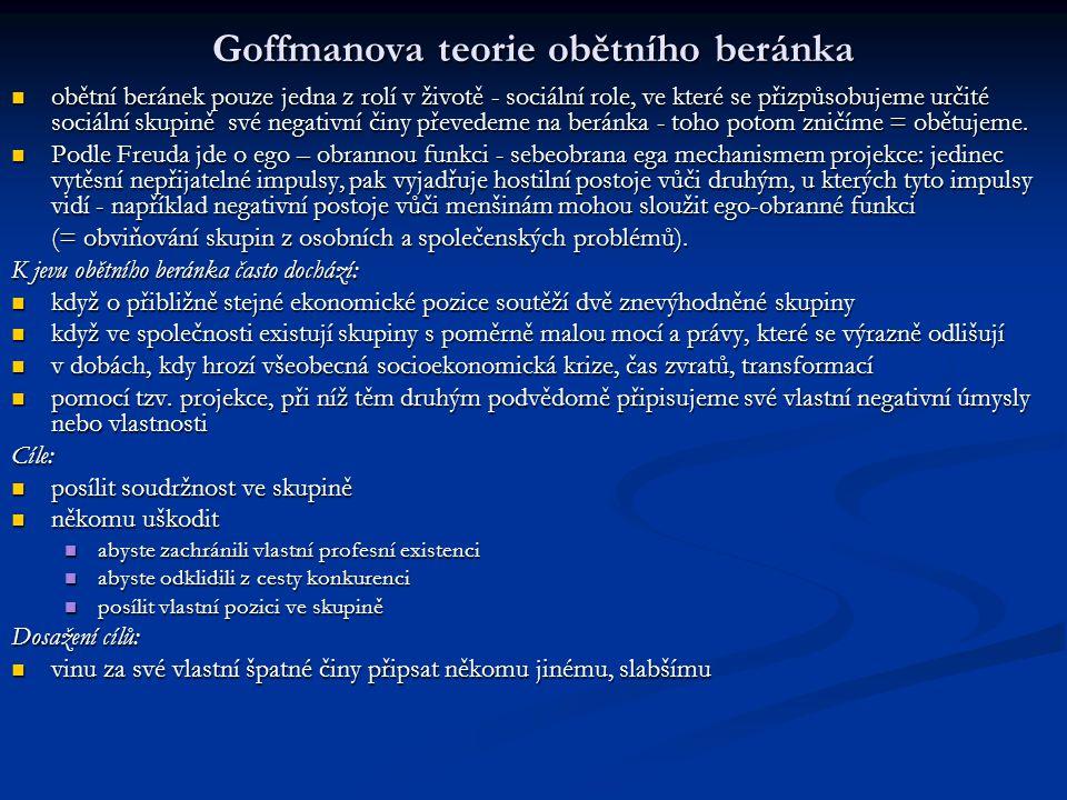 Goffmanova teorie obětního beránka obětní beránek pouze jedna z rolí v životě - sociální role, ve které se přizpůsobujeme určité sociální skupině své
