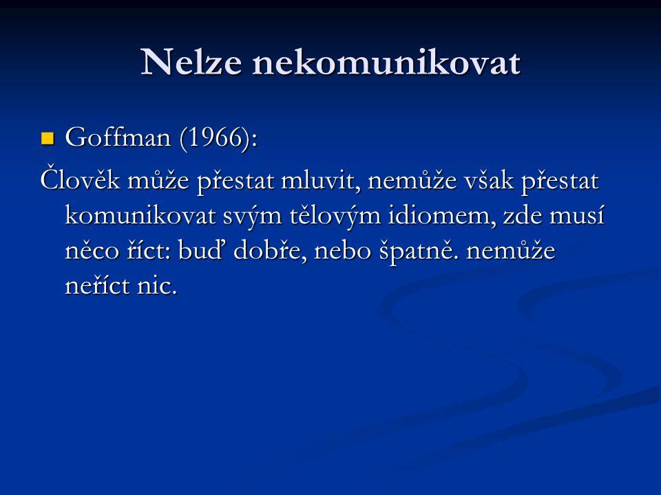 Nelze nekomunikovat Goffman (1966): Goffman (1966): Člověk může přestat mluvit, nemůže však přestat komunikovat svým tělovým idiomem, zde musí něco ří