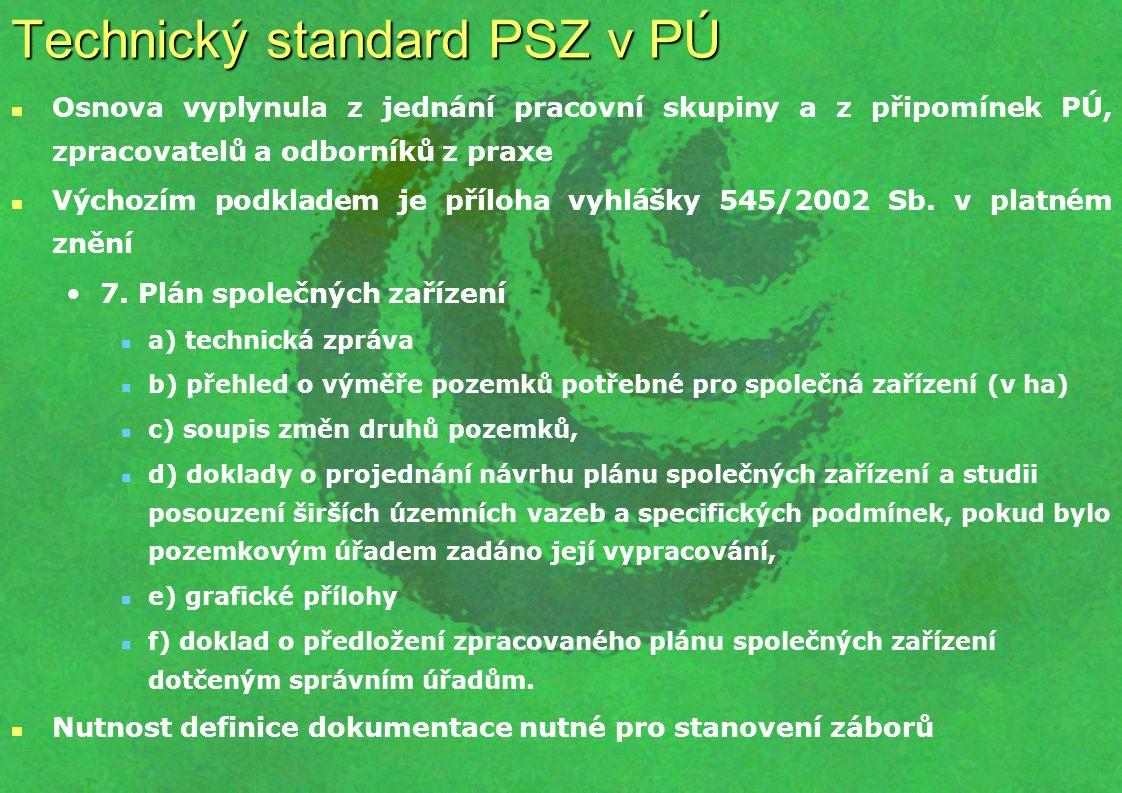 Technický standard PSZ v PÚ Osnova vyplynula z jednání pracovní skupiny a z připomínek PÚ, zpracovatelů a odborníků z praxe Výchozím podkladem je příloha vyhlášky 545/2002 Sb.