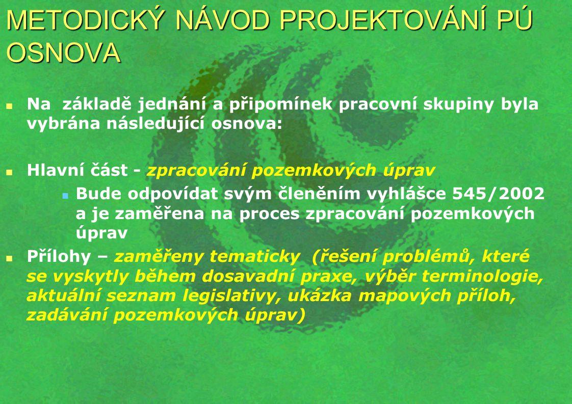 METODICKÝ NÁVOD PROJEKTOVÁNÍ PÚ Hlavní část - zpracování pozemkových úprav Osnova vychází z vyhlášky 545/2002 Sb.