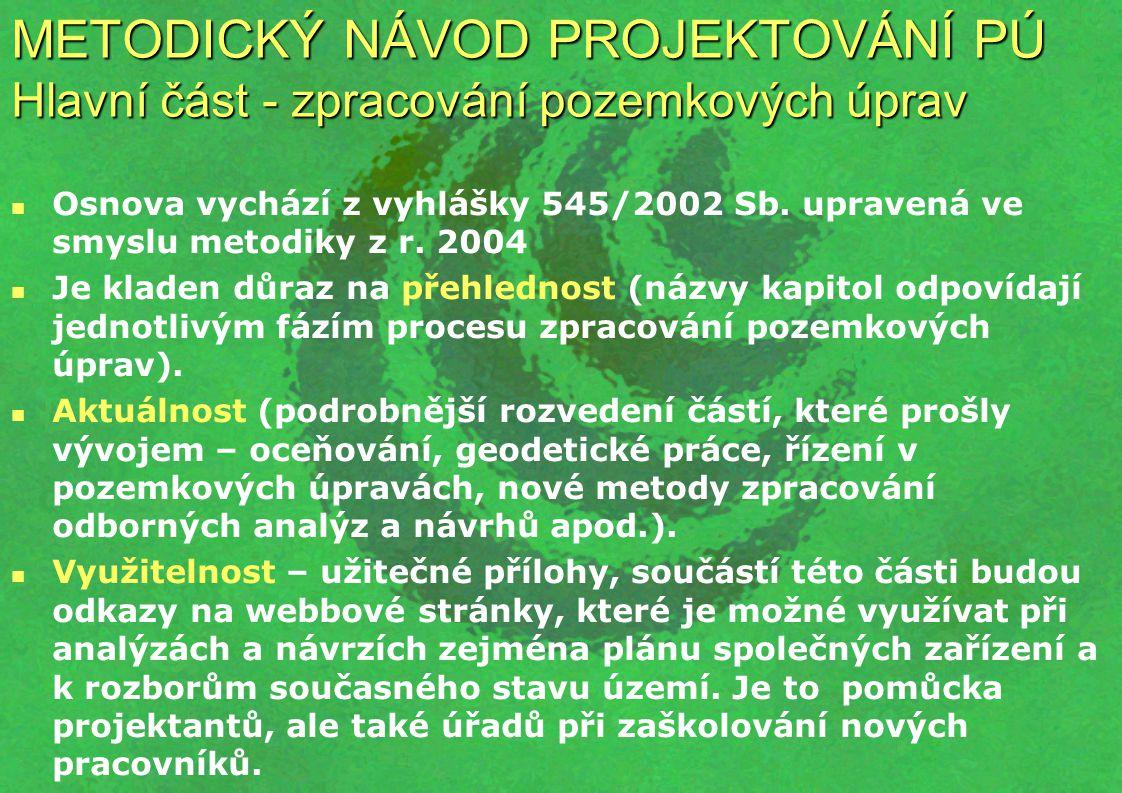 METODICKÝ NÁVOD PROJEKTOVÁNÍ PÚ Hlavní část - zpracování pozemkových úprav Osnova vychází z vyhlášky 545/2002 Sb. upravená ve smyslu metodiky z r. 200