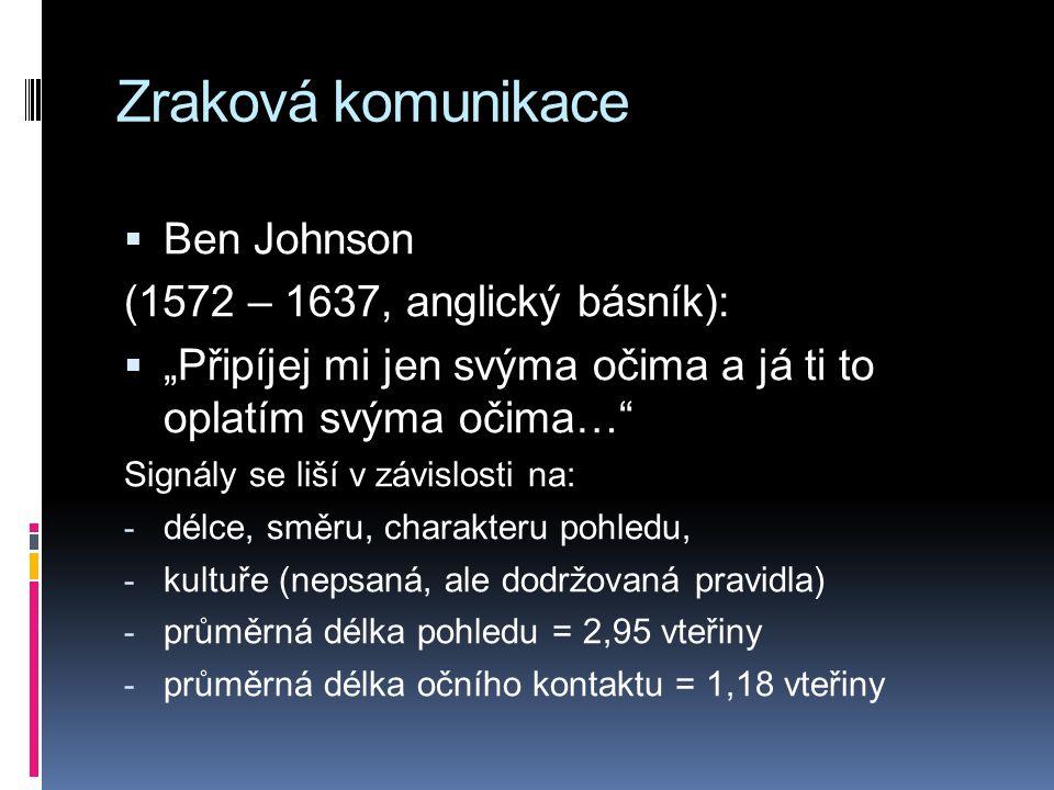 """Zraková komunikace  Ben Johnson (1572 – 1637, anglický básník):  """"Připíjej mi jen svýma očima a já ti to oplatím svýma očima…"""" Signály se liší v záv"""