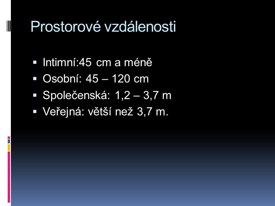 Prostorové vzdálenosti  Intimní:45 cm a méně  Osobní: 45 – 120 cm  Společenská: 1,2 – 3,7 m  Veřejná: větší než 3,7 m.