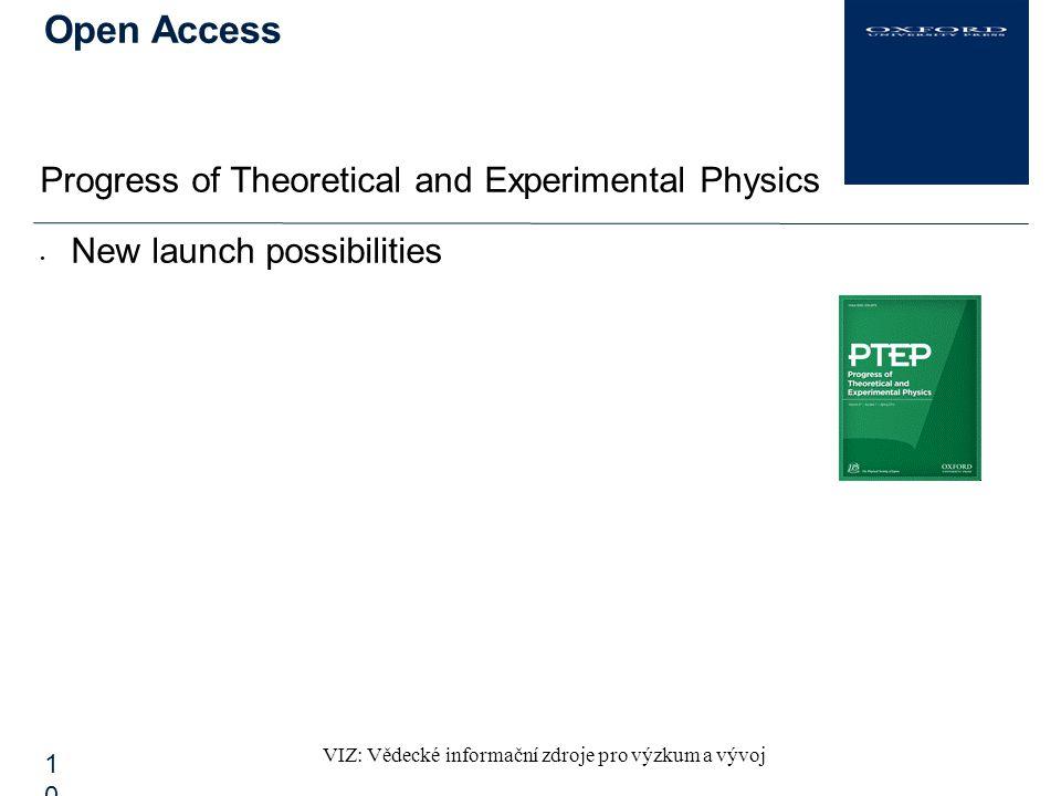 VIZ: Vědecké informační zdroje pro výzkum a vývoj Open Access10 Progress of Theoretical and Experimental Physics New launch possibilities