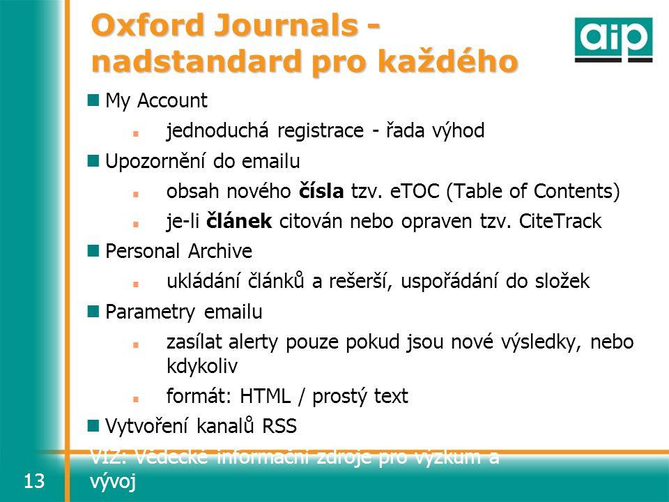 VIZ: Vědecké informační zdroje pro výzkum a vývoj13 Oxford Journals - nadstandard pro každého My Account jednoduchá registrace - řada výhod Upozornění do emailu obsah nového čísla tzv.