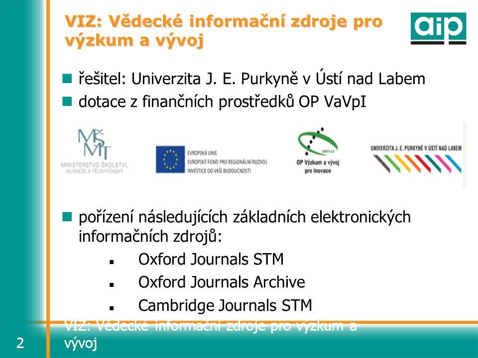 VIZ: Vědecké informační zdroje pro výzkum a vývoj2 řešitel: Univerzita J. E. Purkyně v Ústí nad Labem dotace z finančních prostředků OP VaVpI pořízení