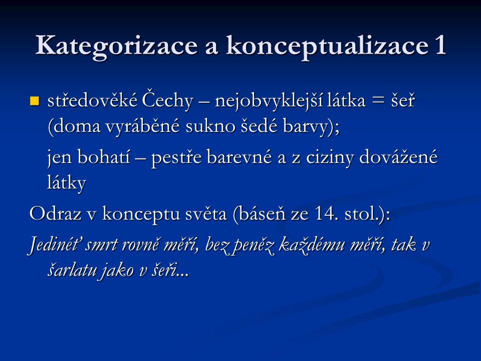 Kategorizace a konceptualizace 1 středověké Čechy – nejobvyklejší látka = šeř (doma vyráběné sukno šedé barvy); středověké Čechy – nejobvyklejší látka = šeř (doma vyráběné sukno šedé barvy); jen bohatí – pestře barevné a z ciziny dovážené látky Odraz v konceptu světa (báseň ze 14.