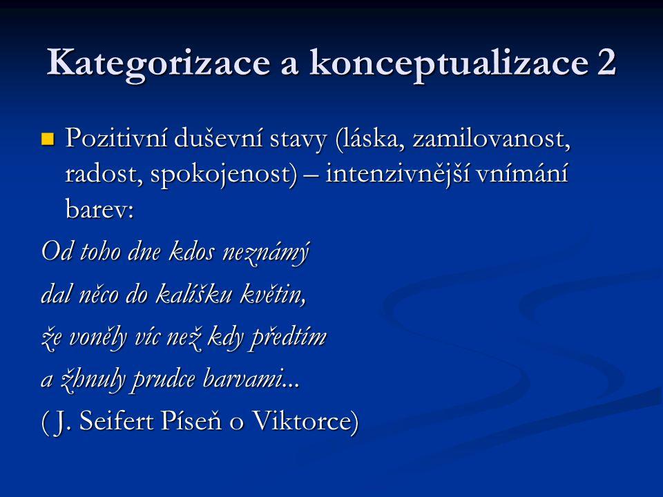 Kategorizace a konceptualizace 2 Pozitivní duševní stavy (láska, zamilovanost, radost, spokojenost) – intenzivnější vnímání barev: Pozitivní duševní s