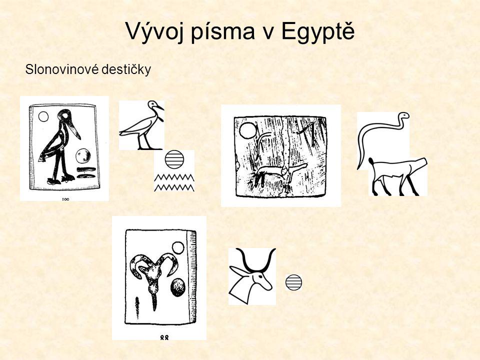 """Vývoj písma v Mezopotámii """"Tokens"""" Znaky písma ovce kráva chléb klínové písmo"""