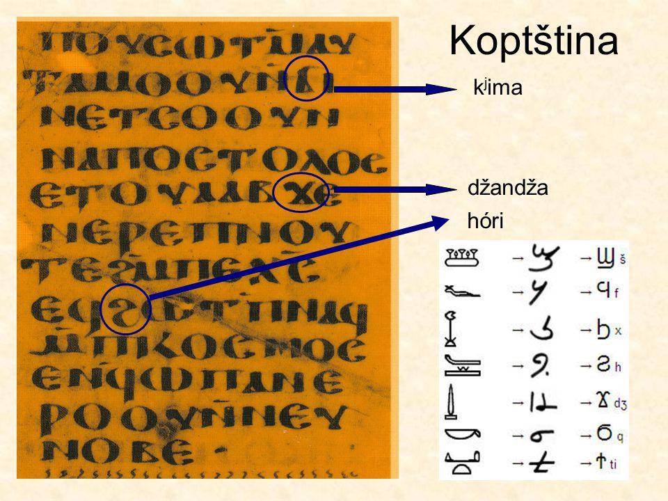 Egyptské písmo – další písma Hieratické písmo 12. dynastie Démotické písmo Hieratické písmo 19. dynastie kurzívní hieroglyfy