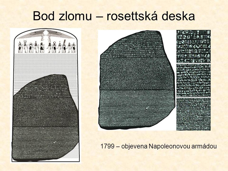 Rozluštění - mýty démotštinaabecední J. D. Åkerblad (počátek 19. stol.) hieroglyfysymbolické Athanasius Kircher (17. stol.)