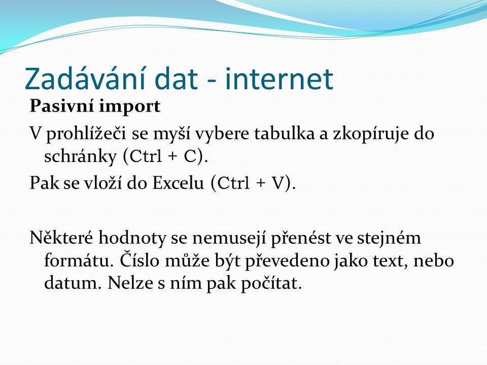 Zadávání dat - internet Pasivní import V prohlížeči se myší vybere tabulka a zkopíruje do schránky ( Ctrl + C ). Pak se vloží do Excelu ( Ctrl + V ).