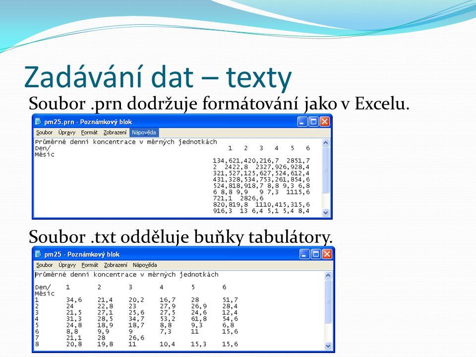 Zadávání dat – texty Soubor.prn dodržuje formátování jako v Excelu. Soubor.txt odděluje buňky tabulátory.