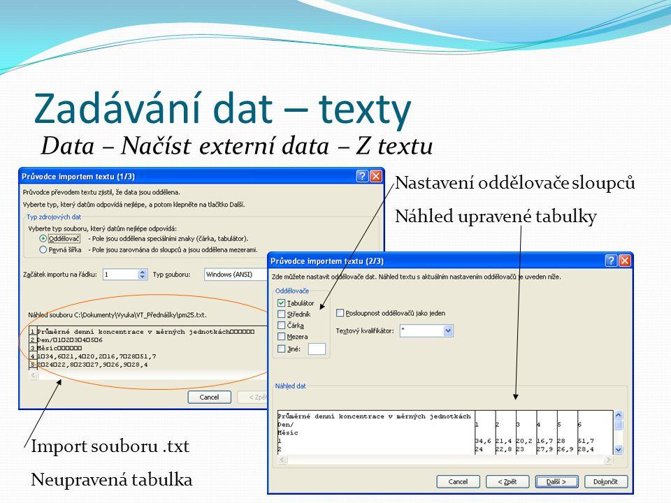 Zadávání dat – texty Data – Načíst externí data – Z textu Import souboru.txt Neupravená tabulka Nastavení oddělovače sloupců Náhled upravené tabulky