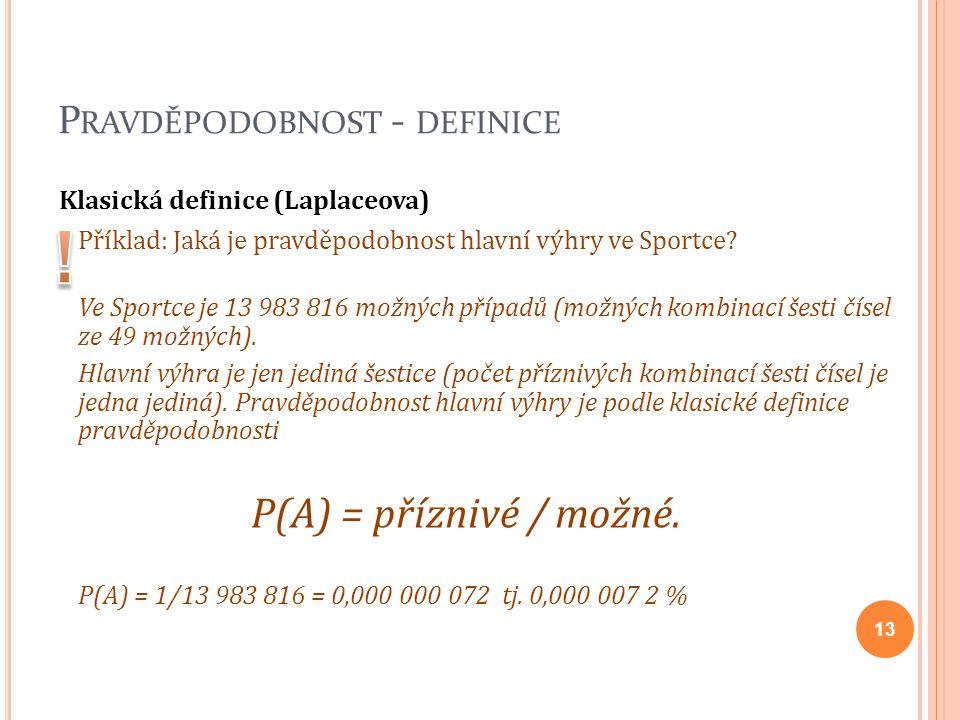 P RAVDĚPODOBNOST - DEFINICE Klasická definice (Laplaceova) Příklad: Jaká je pravděpodobnost hlavní výhry ve Sportce? Ve Sportce je 13 983 816 možných