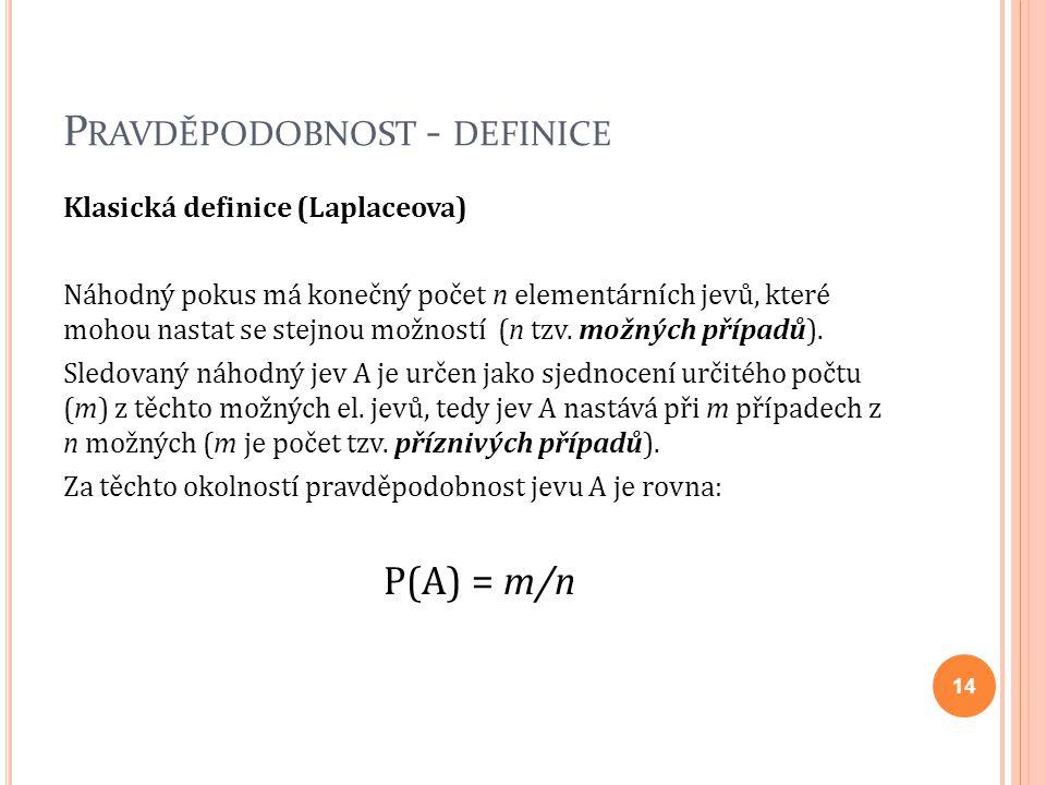 P RAVDĚPODOBNOST - DEFINICE Klasická definice (Laplaceova) Náhodný pokus má konečný počet n elementárních jevů, které mohou nastat se stejnou možností