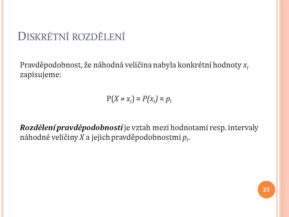 D ISKRÉTNÍ ROZDĚLENÍ Pravděpodobnost, že náhodná veličina nabyla konkrétní hodnoty x i zapisujeme: P(X = x i ) = P(x i ) = p i Rozdělení pravděpodobno