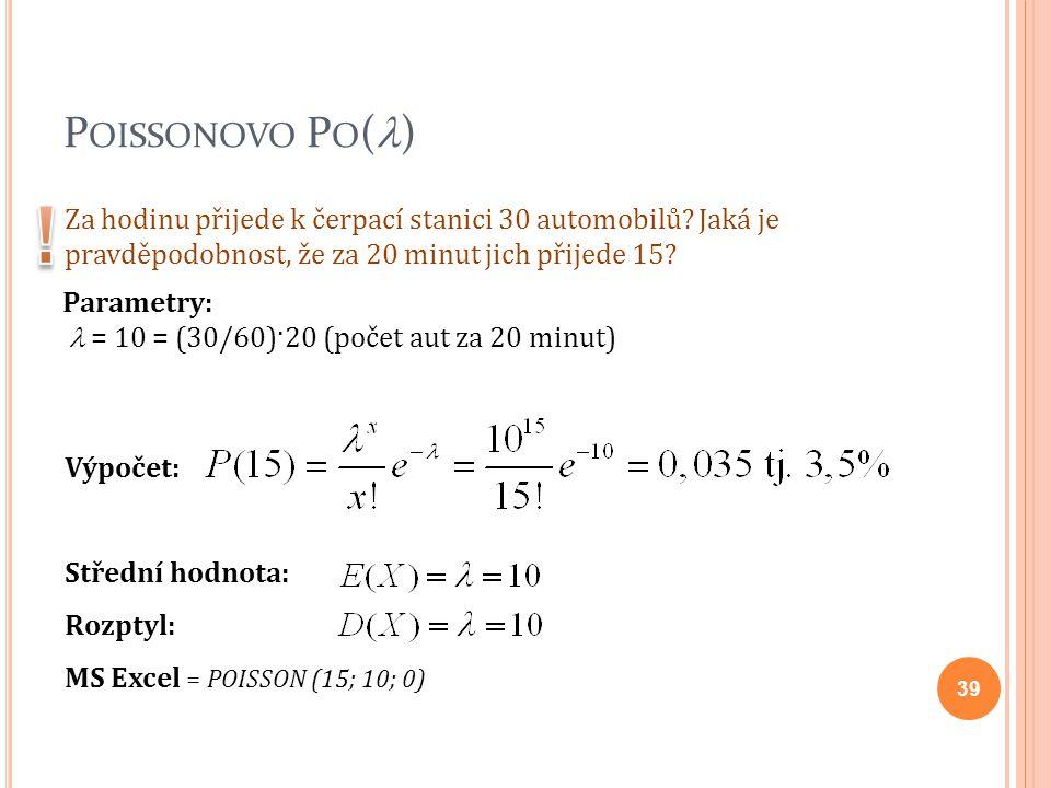 P OISSONOVO P O ( ) Výpočet: Střední hodnota: Rozptyl: MS Excel = POISSON (15; 10; 0) Za hodinu přijede k čerpací stanici 30 automobilů? Jaká je pravd
