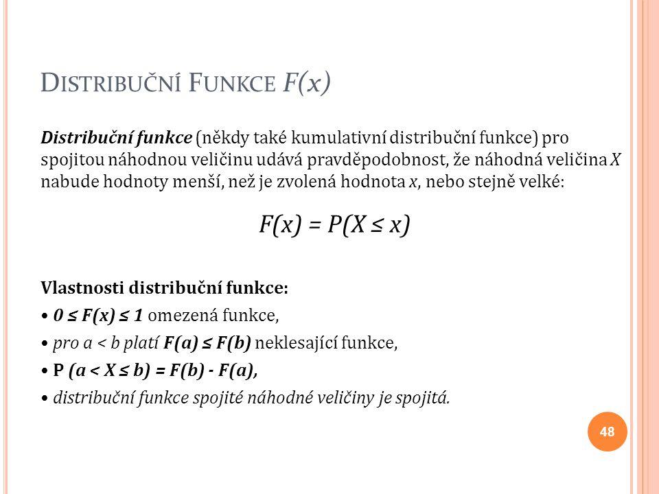 D ISTRIBUČNÍ F UNKCE F(x) Distribuční funkce (někdy také kumulativní distribuční funkce) pro spojitou náhodnou veličinu udává pravděpodobnost, že náho