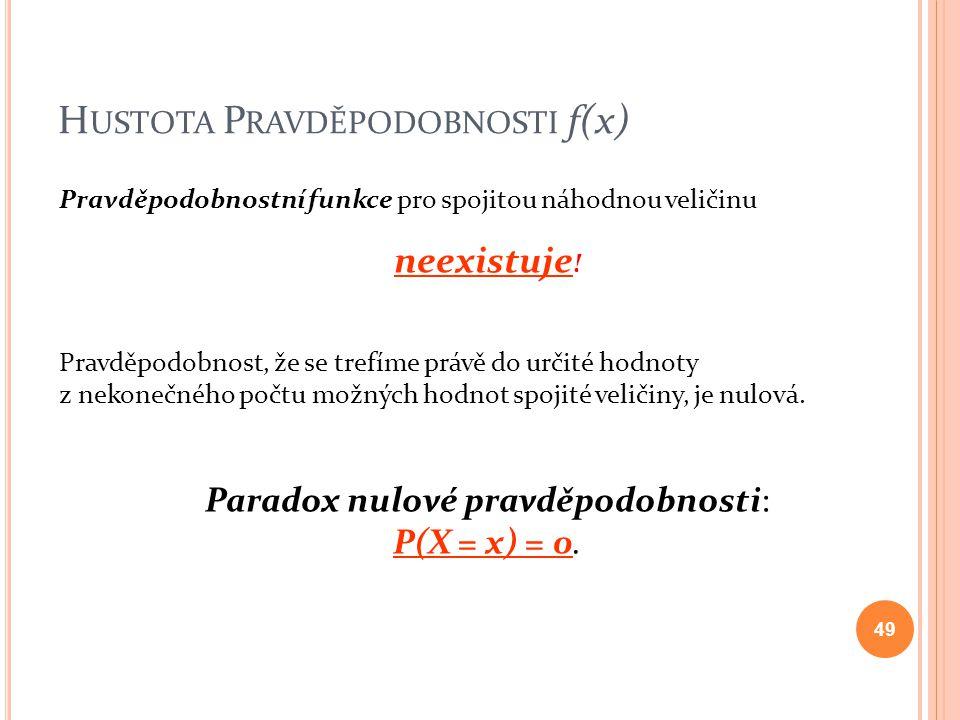 H USTOTA P RAVDĚPODOBNOSTI f(x) Pravděpodobnostní funkce pro spojitou náhodnou veličinu neexistuje ! Pravděpodobnost, že se trefíme právě do určité ho