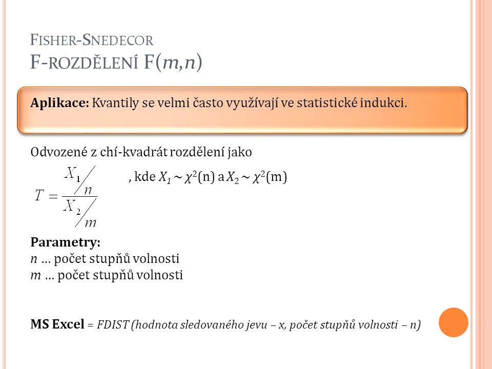 F ISHER -S NEDECOR F- ROZDĚLENÍ F(m,n) Aplikace: Kvantily se velmi často využívají ve statistické indukci. Odvozené z chí-kvadrát rozdělení jako, kde